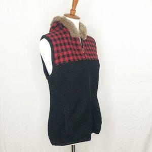 Woolrich Womens Plaid Faux Fur Vest M Zippered Str